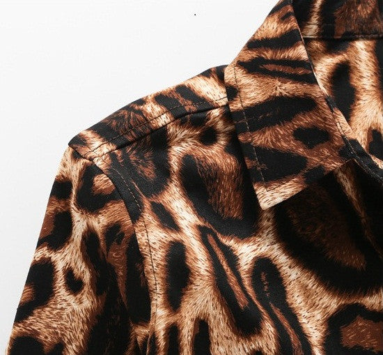 Casual Men Shirt Long Sleeve Leopard