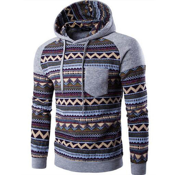 Men Ethnic Style Hooded Sweatshirt available in 4 colors Black/Blue/Dark Gray/Light Gray