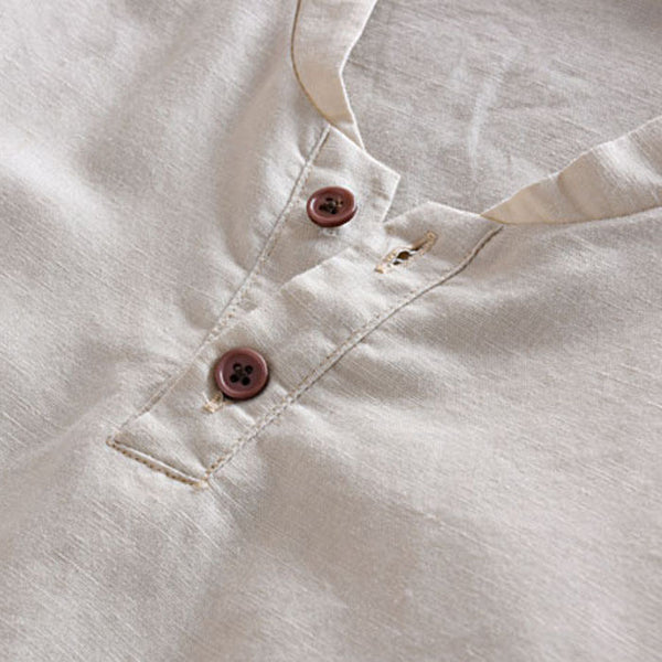 Mens Linen Shirts Short Sleeve Breathable 3 colors