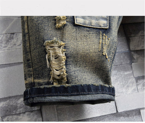 ABOORUN Mens Denim Shorts