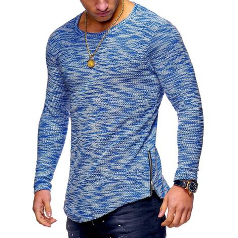 O Neck Zipper Hem T-Shirt 4 colors