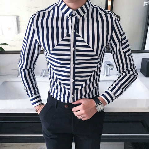 Square Striped Dress Shirt 2 colors