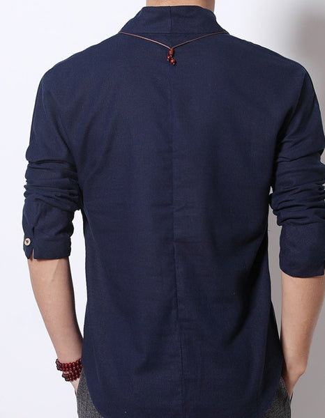 FAVOCENT Men Linen Shirt 4 colors