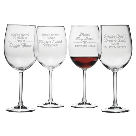 Wine Wisdom- Etched Stemmed Wine Glass Set
