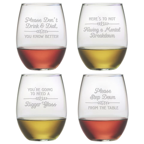 Wine Wisdom- Etched Stemless Wine Glass Set