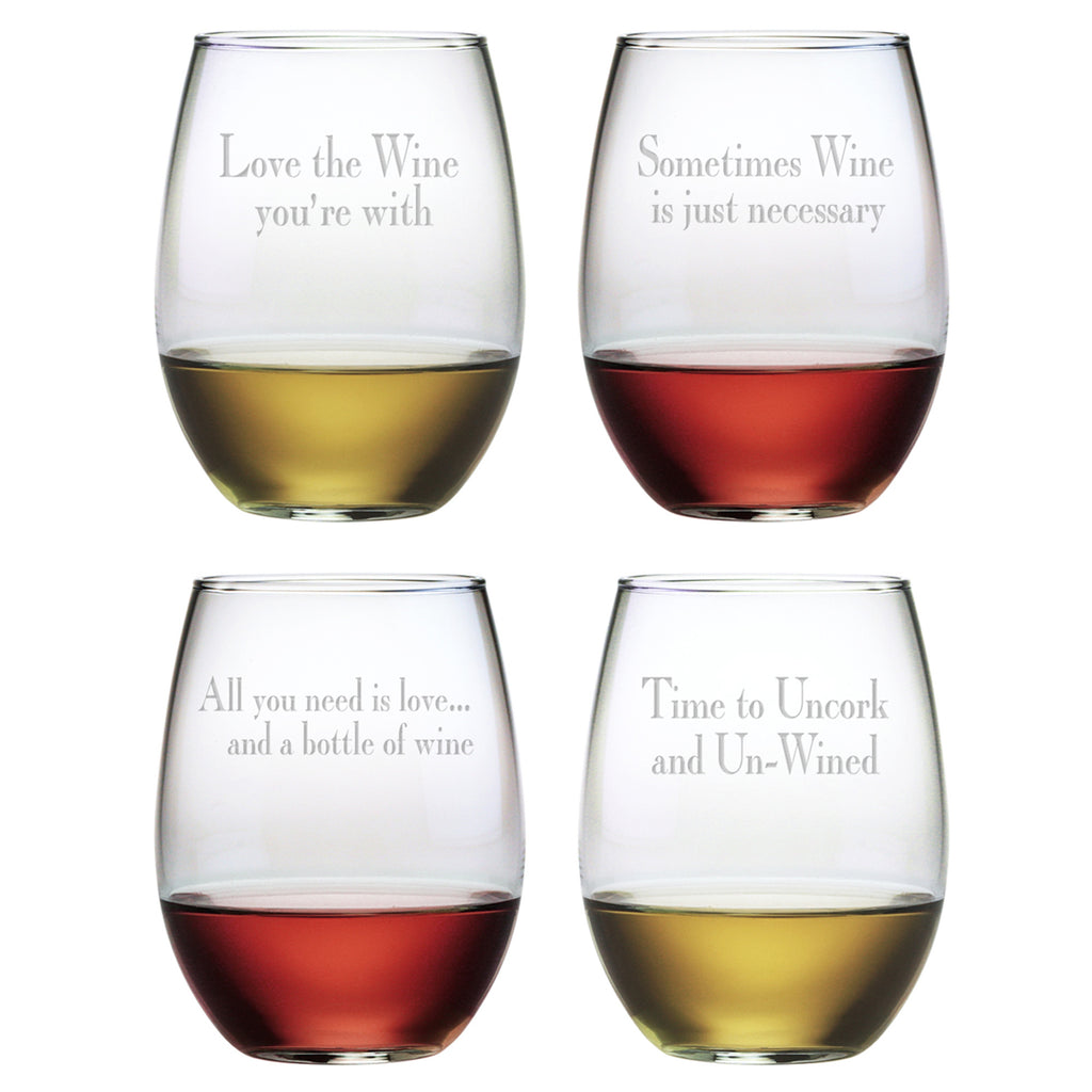Wine Time- Etched Stemless Wine Glass Set