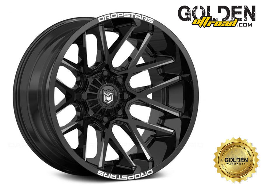 Droptstar - 654BM 20X10 5X4.50 / 5X5.00 Gloss Black Milled Accents 78.00