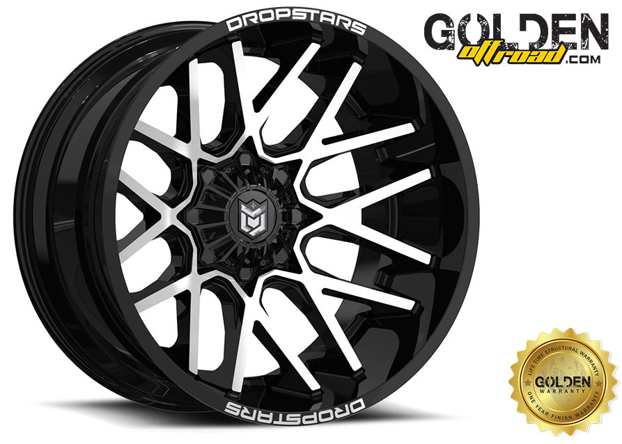 Droptstar - 654MB 20X10 6X135 / 6X5.50 Gloss Black Milled Face 108.00