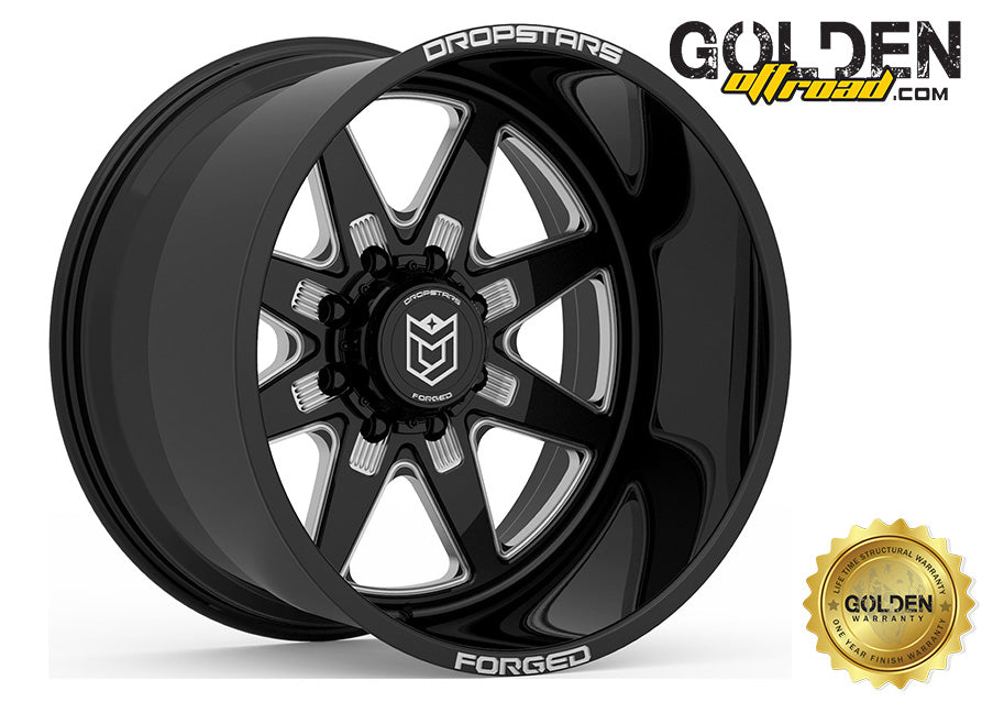 Droptstar - F61BM1 22X12 8X6.50 Gloss Black Milled 125.20
