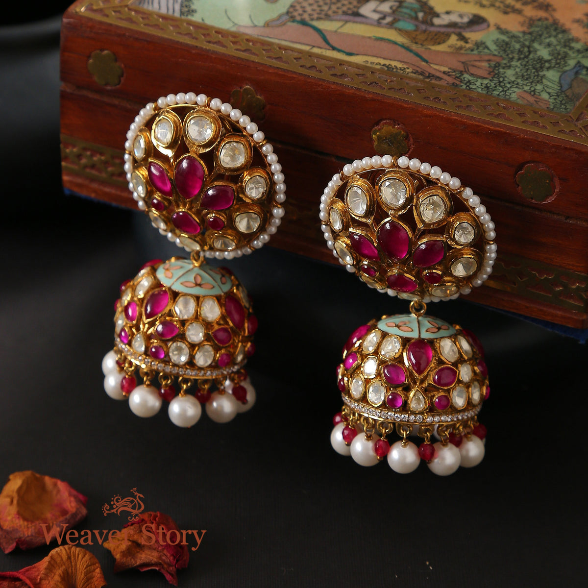Phoolwa Jhumki with Moissanite Polki Hand Crafted in Pure Silver