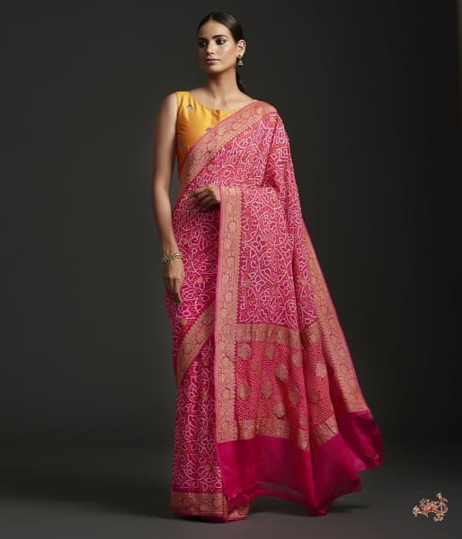 Handwoven Banarasi Bandhej Saree In Pink Color