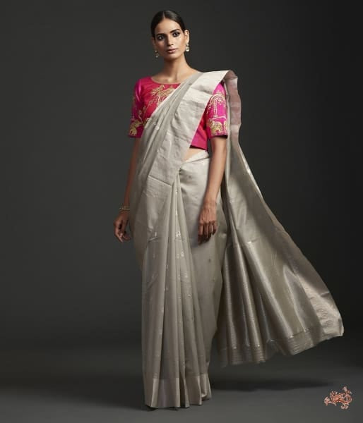 Light Grey Cotton Silk Chanderi Saree With Silver And Red Meena Booti Saree