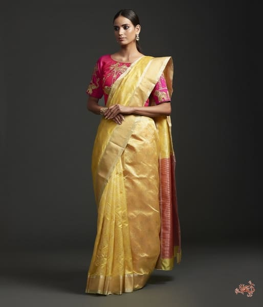 Yellow Silk Jangla With Contrast Pallu Blouse Saree