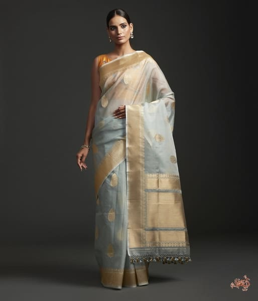 Ice Grey Kora Silk Saree With Kadhwa Motifs Saree