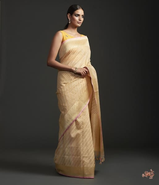 Handwoven Kora Cotton Saree With Cutwork Weave Saree