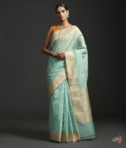 Light Green Kadhwa Boota Cotton Silk Saree With Sona Rupa Zari Saree