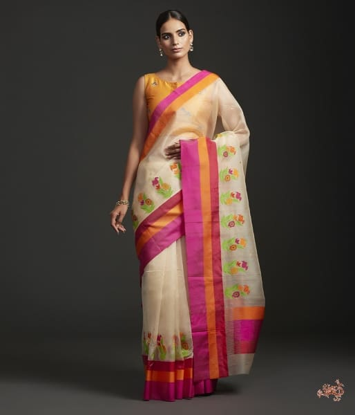 Cream Kora By Saree With Heavy Multicolor Border And Floral Motifs Saree