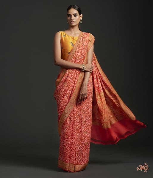 Handwoven Banarasi Bandhej Saree In Orange Color