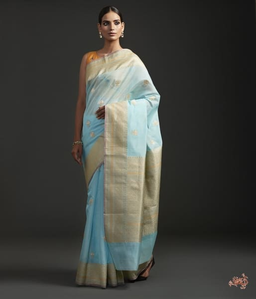 Light Blue Kora Cotton Saree With Sona Rupa Zari Booti Saree