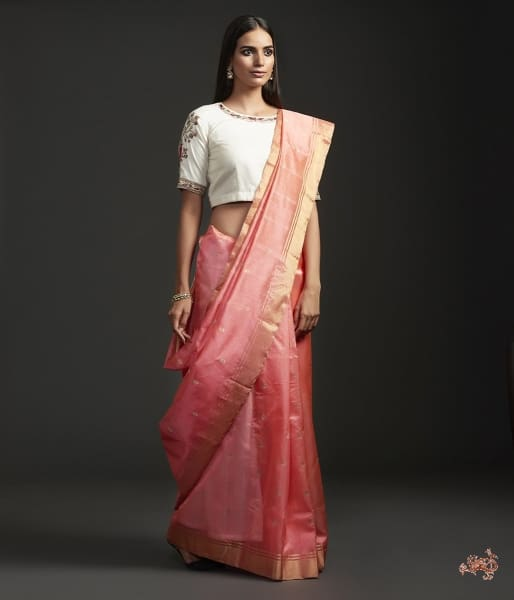 Handwoven Peach Chanderi Silk Saree With Gold And Silver Zari Floral Motifs. Saree