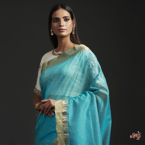 Aqua Blue All Over Zari Booti Saree With Temple Border Saree