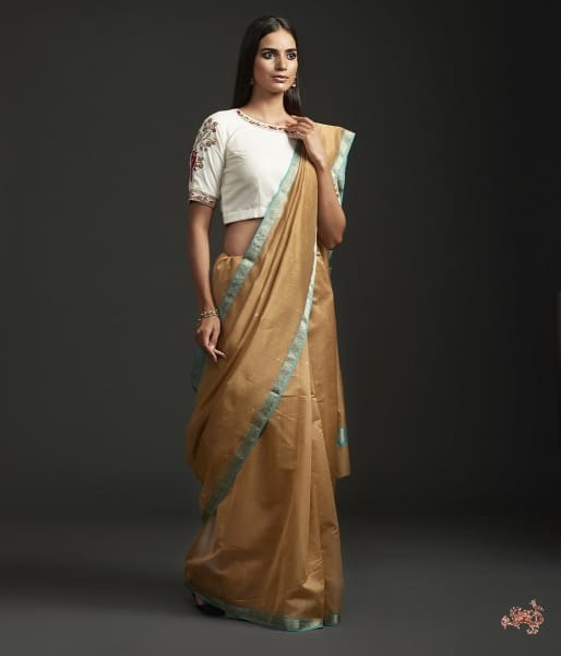 Brown Cotton By Silk Chanderi Saree With Nakshi Booti And Blue Border Saree