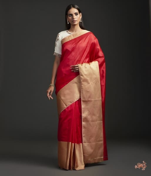 Handwoven Red Plain Silk Saree With Heavy Gold Border Saree