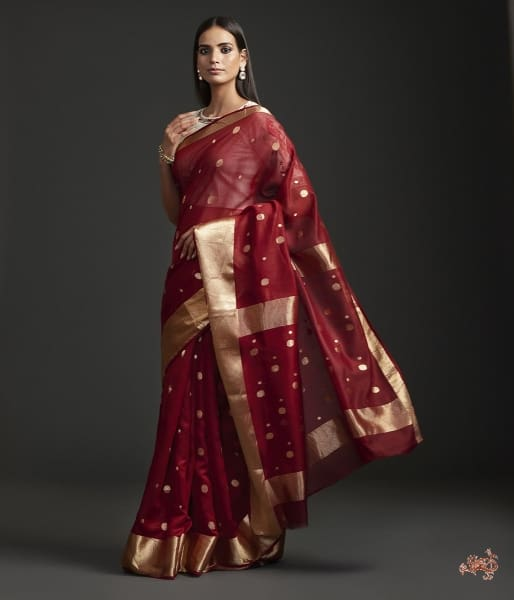 Mahroon Asharfi Booti Saree With Heavy Gold Border Saree
