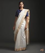 White Asharfi Booti Saree With Gold Silver Zari Saree