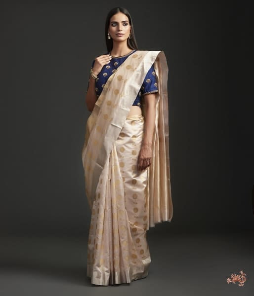 Oyster Pink Floral Motif Saree With Gold And Silver Work Saree