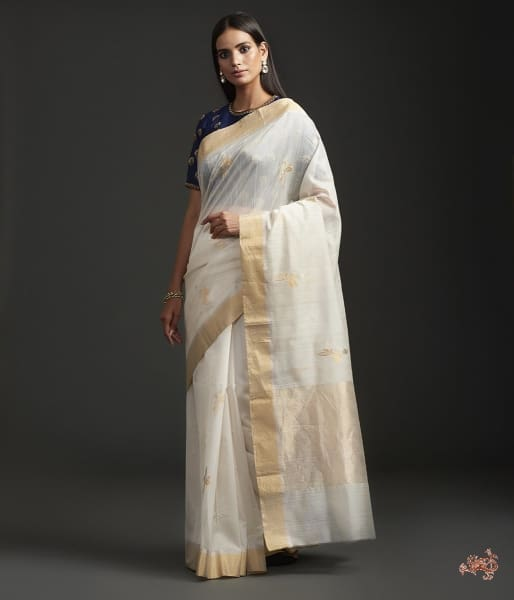 Offwhite Cotton By Silk Chanderi With Mughal Motif Saree
