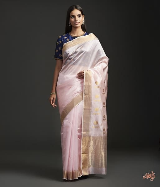 Handwoven Yellow Chanderi Saree With Sunflower Motif On The Pallu. Saree