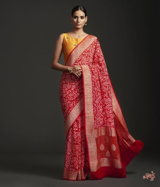 Handwoven Banarasi Bandhej Saree In Red Saree