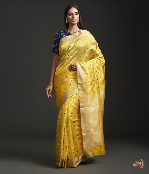 Yellow Pure Silk Chanderi Saree With Delicate Floral Motifs Meenakari Saree