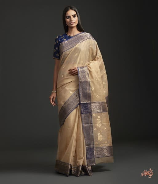 Golden Beige Tissue And Mercerised Cotton Saree - President Award Winning Saree