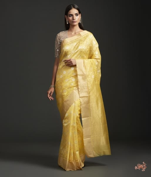 Sunny Yellow Chanderi Jangla Saree Saree