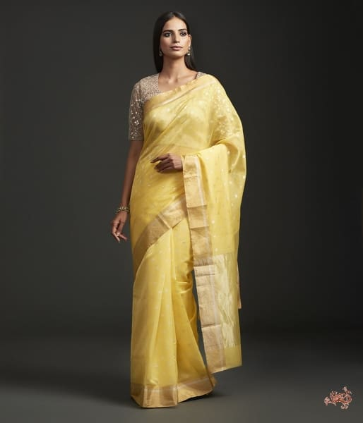 Yellow Handwoven Chanderi Saree With A Gold Zari Boota Saree