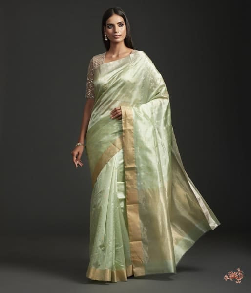 Handwoven Pistachio Green Chanderi Silk Saree Saree