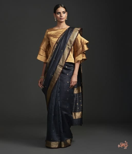 Black Muslin By Silk Chanderi Saree With Nakshi Booti Saree