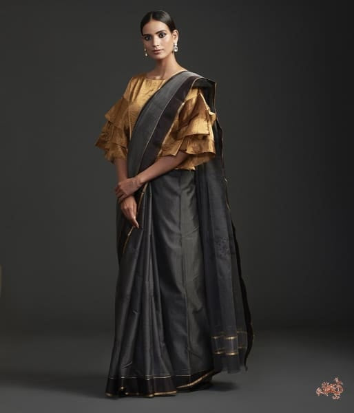 Handwoven Grey Black Chanderi Cotton Silk Saree With Nandi Motif Saree