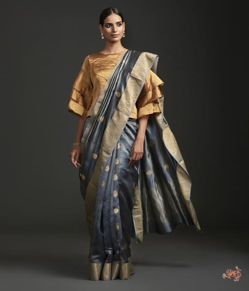 Handwoven Grey Chanderi Silk Saree With Meenakari Anaar Motif Saree
