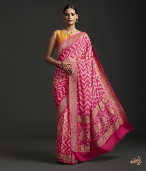 Handwoven Banarasi Georgette Saree With Rye Bandhej Saree
