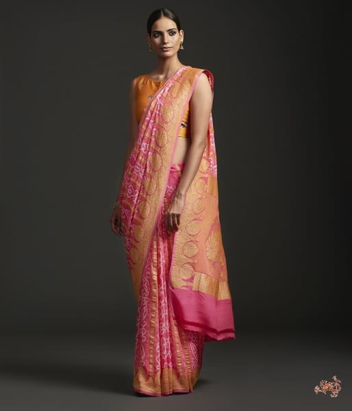 Handwoven Banarasi Bandhej Saree In Peach
