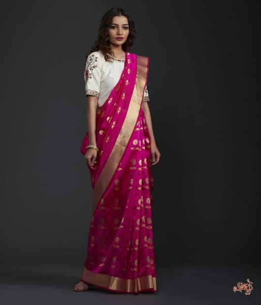 Hot Pink Chanderi Silk Saree With Floral Motifs Saree