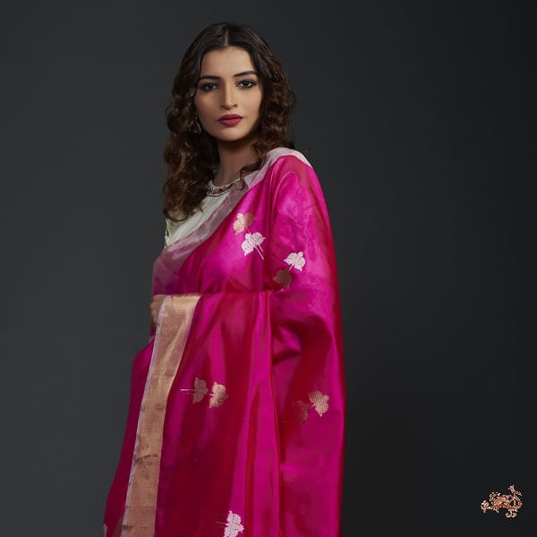b31074a84ebc54 Hot pink silk chanderi saree with gold silver boota - WeaverStory