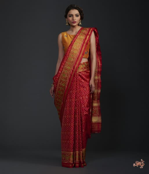 Red Single Ikat Patola Saree With Tissue Border Saree