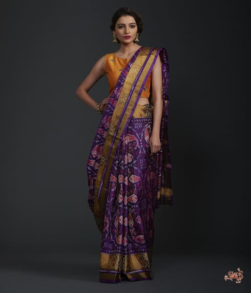 Purple Single Ikat Patola Saree With Tissue Border Saree