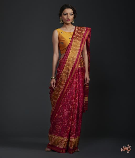 Red And Pink Dual Tone Single Ikat Patola Saree With Tissue Border Saree