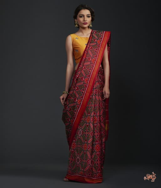 Pure Silk Gujarat Patola Saree In Green And Red Combination Saree