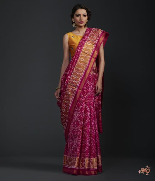 Pink Single Ikat Patola Saree With Tissue Border Saree